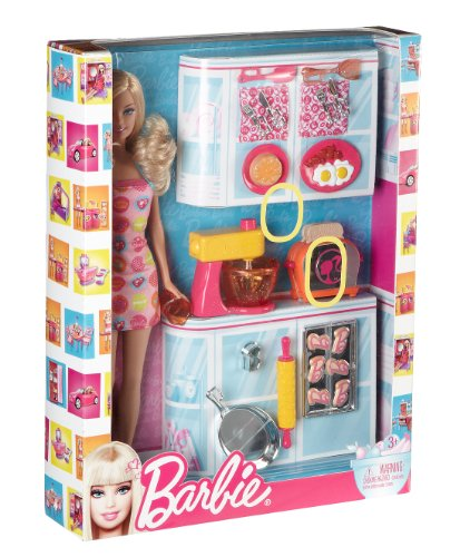 Buy Barbie Mattel V8656 Barbie Doll And Kitchen Accessory Set Online