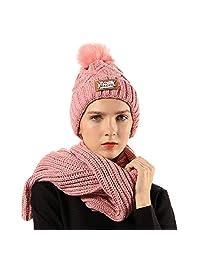 FLY HAWK Women Girl Knit Hat Scarf Set Beanie Winter Outdoor Ski Sports Cap