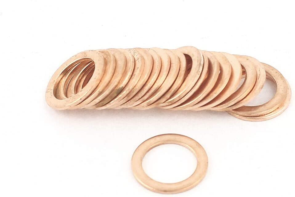 Size : 10Mm no logo 20Pcs 10Mm X 14Mm X 1Mm Copper Flat Washer Gasket Spacer Seal Fitting Copper Washers Fastener