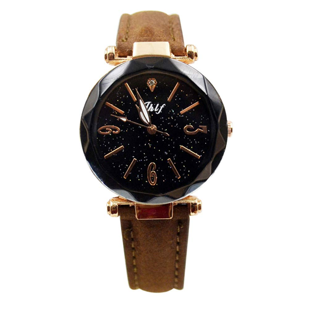 Starry Sky Watch for Women, Crystal Dial Analog Quartz Wristwtach with Suede Pu Leather Band BravetoshopJHRU02(Brown)