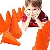 Toy Cubby Orange Play Traffic Cones For Sports, Games and Outdoor Activities - Pack of 12 Stackable, 7 Inch Cones - By