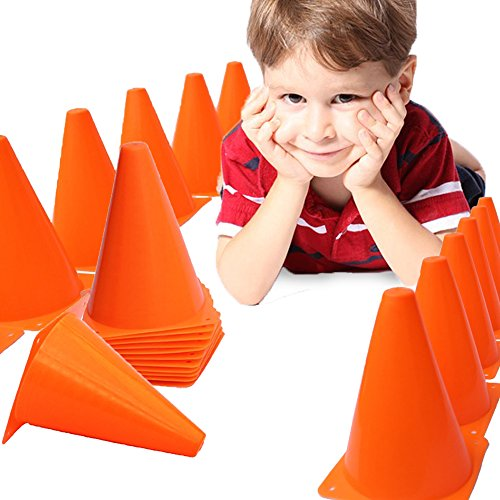 Orange Play Traffic Cones For Sports, Games and Outdoor Activities - Pack of 12 Stackable, 7 Inch Cones - By Toy (Favor Cones)