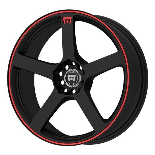 Matte Stripe (Motegi Racing MR116 Matte Black Wheel With Red Racing Stripe (18x8/5x112, 114.3mm, +45mm offset) by Motegi Racing)