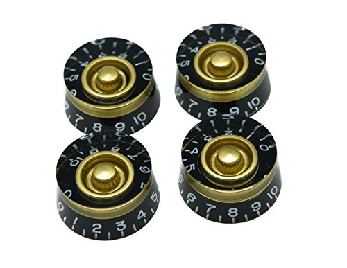 Les Paul Knobs - Dopro Set of 4 Black with Gold Custom Metric LP Guitar Speed Dial Knobs Control Knobs for Les Paul