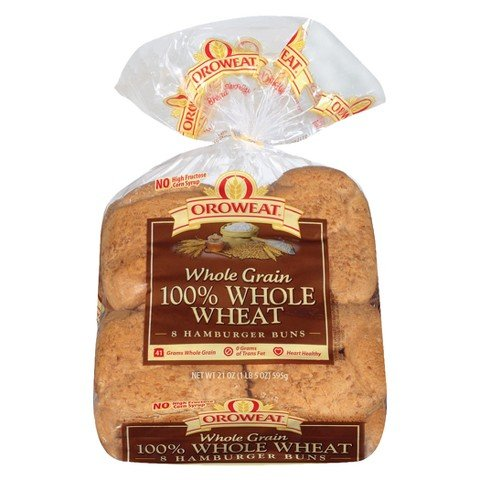 Oroweat 100% Whole Wheat Hamburger Buns, 8 Bun Package (Pack of 2) - Whole Wheat Hamburger Buns