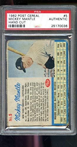 1962 Post Cereal #5 Mickey Mantle Yankees PSA AUTH Graded Baseball Card ()