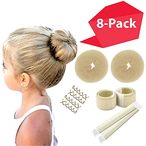 Blonde Magic Hair Bun Shaper 8-PACK MINI BUNS | Essentials for the BEST Small Hair Buns | 2 Donuts + 2 Snap Bun Makers + 4 Spin Pin Bobby Pins ()