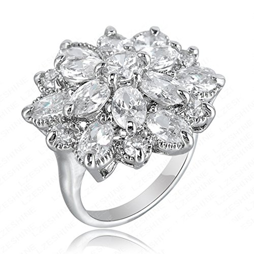 HSG Hot Sell Bridal White Ring Fashion Design 18K White Gold Prong Set Ring Wedding Engagement Promise Ring (Size 8) (Vintage Platinum Diamond Ring compare prices)