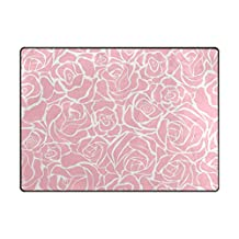 ALAZA Super Soft Modern Pink Roses Area Rugs Living Room Carpet Bedroom Rug for Children Play Solid Home Decorator Floor Rug and Carpets 63 x 48 Inch