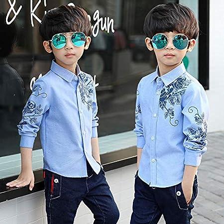 JXSHQS Ropa For Niños Niño Otoño Camisa Primavera Y Otoño Niños Niño Grande Camisa De Manga Larga Coreano Niño Camisa Marea Camisa de los niños (Color : Grey, Size : 120cm): Amazon.es: