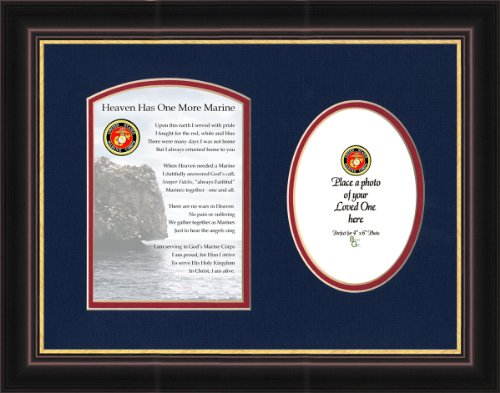 Military Memorial Marine Photo Framed Gift for Sympathy and Condolence for Veterans or those who served in the Military