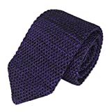 Slim Dark Purple Knitting Tie Border Patterned Business Necktie for Men Boys