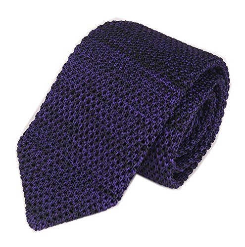 Green Wool Knit Ties (Slim Dark Purple Knitting Tie Border Patterned Business Necktie for Men or Boys)