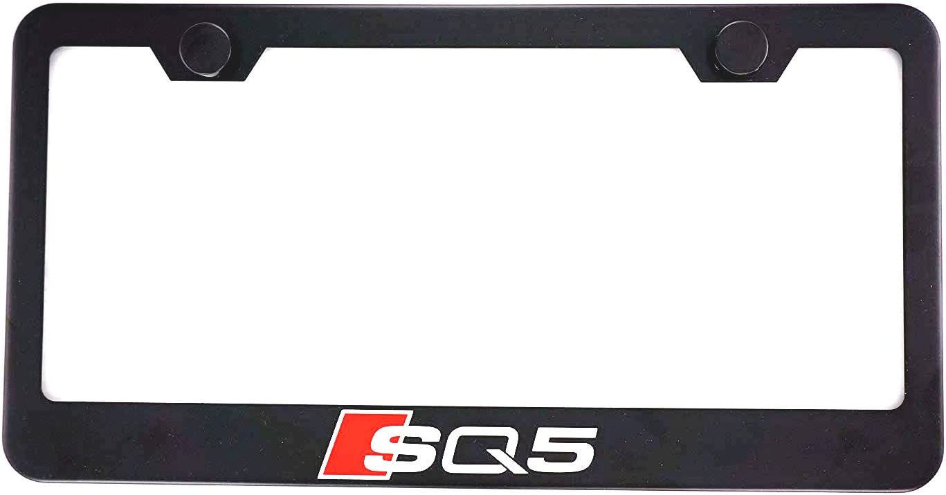 Estodia Black Sline Stainless Steel License Plate Frame Cover Holder Metal with Screws Caps for All Audi Universal 1