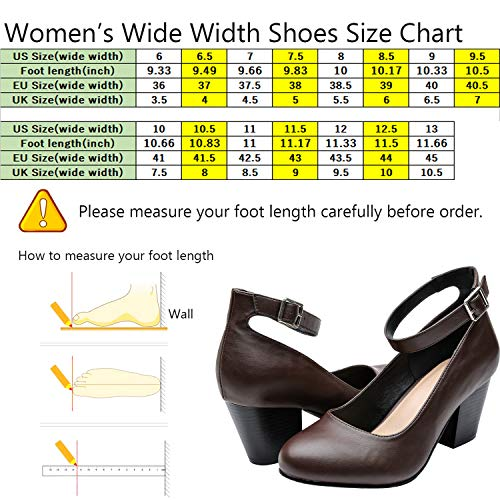 714e9d106f5 Luoika Women s Wide Width Heel Pump - Ankle Buckle Strap Round Closed Toe Dressing  Shoes.