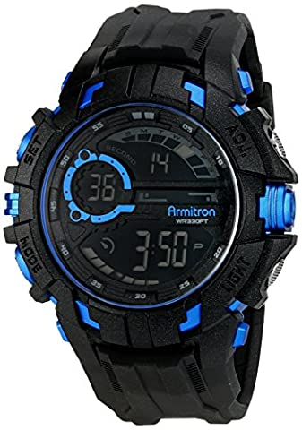 Armitron Sport Men's 40/8335BLU Blue Accented Digital Chronograph Black Resin Strap Watch (Armitron Sports 50)
