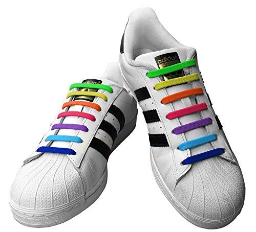 Kicks Kids Rainbow - Tieless Elastic Silicone No Tie Shoelaces (Toddler Brown Multi Footwear)