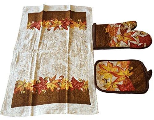 Autumn Leaves Dish Towel, Pot Holder and Oven Mitt Bundle