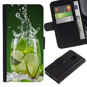EJOY---Tirón de la caja Cartera de cuero con ranuras para tarjetas / Samsung Galaxy S5 V SM-G900 / --Menta fresca cal