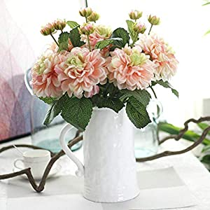 2 Heads Dahlias Artificial Flowers Silk Fall Vivid Real Touch Fake Flowers,Rose Red 3
