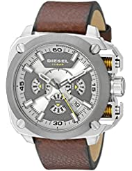 Diesel Mens DZ7343 Stainless Steel Watch with Leather Band