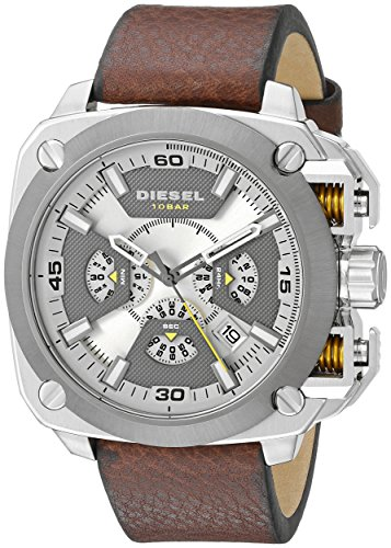 (Diesel Men's DZ7343 Stainless Steel Watch with Leather Band)