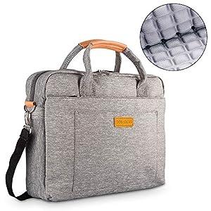 DOB SECHS 15-15.6 Inches Laptop Bag Shockproof Briefcase Shoulder Messenger Bag, Universal Nylon Business Laptop Sleeve Case, Laptop Carrying Handbag for Women and Men, Grey