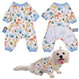 Per Dog Cat Pajamas with Cute Animal Pattern and Four Feet Design, Pet All Season PJS Jumpsuit for Small and Medium Sized Dog Puppy Cat Kitten - XS/S/M/L/XL
