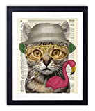 Hunter S. Cat, Home and Bedroom Wall Decor, Vintage Wall Art Upcycled Dictionary Art Print Poster For Room Decor 8x10 inches, Unframed