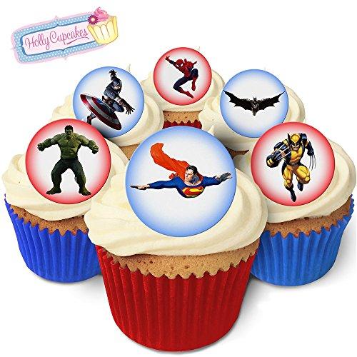 24 Fabulous Pre-Cut Edible Wafer Cake Toppers: Male Superheroes ()