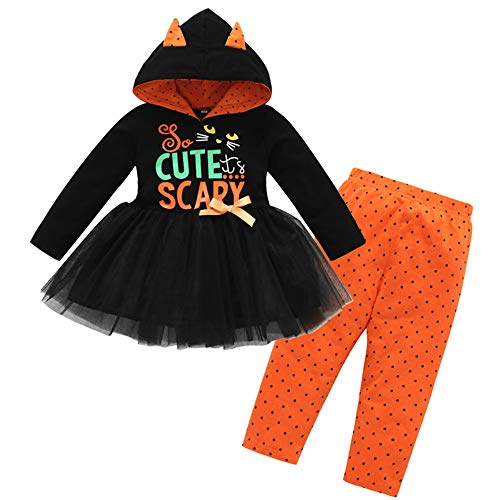Suma-ma Girls Set,Letter Tops Dress Hoodie Print Dot Pant Halloween Clothes Set for Toddler Baby Girls (2-3 Years, Black)