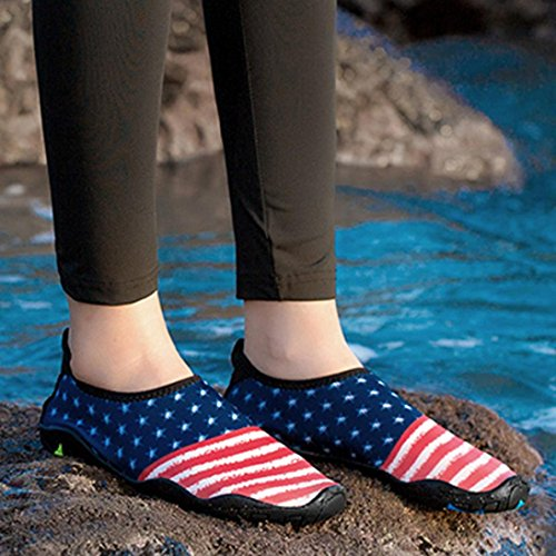 Quick Slip Shoes Pinted Beach XILALU Anti American Lightweight Blue Flag Breathable Shoes Yoga Dry Unisex Water Sport 5Ipq10
