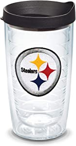 Tervis 1039031 NFL Pittsburgh Steelers Primary Logo Tumbler with Emblem and Black Lid 16oz, Clear