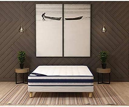 Conjunto de colchón de 22 cm + somier tapizado de 140 x 190 ...
