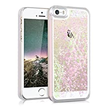 kwmobile hardcase cover for Apple iPhone SE / 5 / 5S with liquid - hardcase backcover protective case water with Design glitter snow globe in light pink transparent