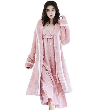 Mujer Invierno Largo Franela Kimono Bata de noche con Falda de tirantes: Amazon.es: Deportes y aire libre