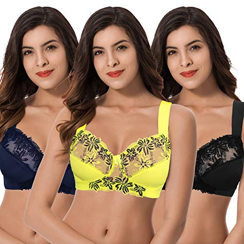 (Curve Muse Plus Size Minimizer Unlined Wirefree Bra with Lace Embroidery-3Pack-NAVY,Yellow,BLACK-34D)