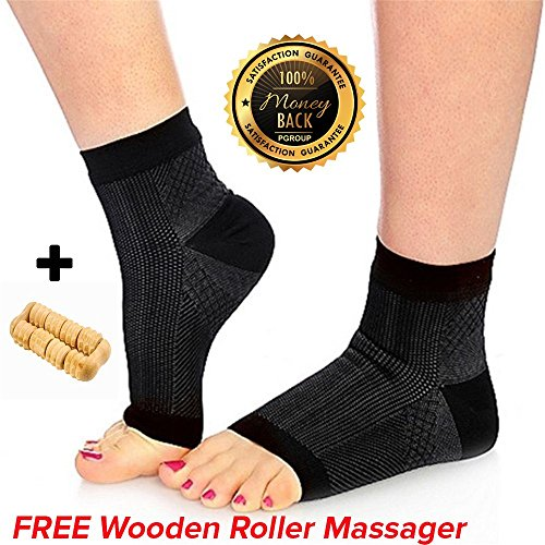 Plantar Fasciitis Night Splint Socks Inserts - Compression Socks Women - Arch Support 24/7 - FREE Wooden Massager - Foot Compression Sleeve – Plantar Fasciitis Insoles Brace - Relief Foot Heel Pain