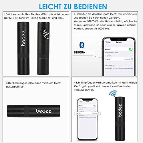Bluetooth Receiver bedee Mini Bluetooth Empf/änger 3.5mm Drahtlos Adapter Built-in Microphone Unterst/ützung Freisprecheinrichtung f/ür KFZ Autoradio Lautsprechersystem Kopfh/örer TV Handy Audioger/äte