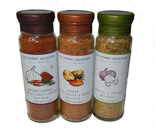Chilli Collection (The Gourmet Collection, 3 bottle set, Smoked Paprika, Garlic, Chilli & Chives Spice Blend; Garlic & Onion Spice Blend; Roasted Vegetable & Fries Spice Blend)
