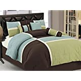 Chezmoi Collection 7-Piece Coffee Quilted Patchwork Comforter Set, Aqua Blue/Sage Green, Full