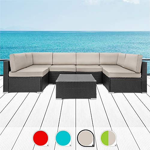 Walsunny 7pcs Patio Outdoor Furniture Sets,Low Back All-Weather Rattan Sectional Sofa with Tea Table&Washable Couch Cushions (Black Rattan (Khaki)