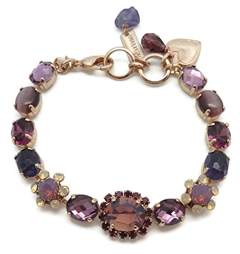 Mariana Rose Gold Plated Bohemian Rhapsody Oval Purple Swarovski Crystal Bracelet M1072