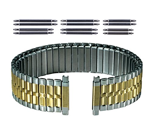 Gilden Gents Expansion 17-22mm Extra-Long Two-Tone Stainless Steel Watch Band 536-TL