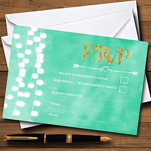 Mint Green & Gold Lights Watercolour Personalized RSVP Cards