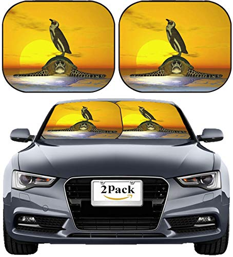 MSD Car Sun Shade Windshield Sunshade Universal Fit 2 Pack, Block Sun Glare, UV and Heat, Protect Car Interior, Image ID: 381609 Penguin on top of Turtle on ice