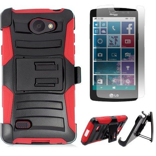 [SlickGearsTM] Heavy Duty Impact Protection Armor Case w/ Kickstand Belt Clip Holster for LG LANCET VW820 Verizon + Premium Screen Protector (Red)