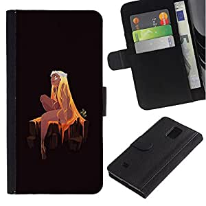 NEECELL GIFT forCITY // Billetera de cuero Caso Cubierta de protección Carcasa / Leather Wallet Case for Samsung Galaxy Note 4 IV // Princesa rubia