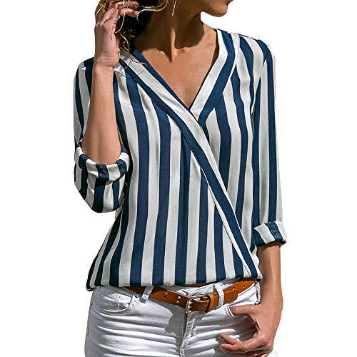 Imprim Chemisier Automne Chic Top Dihope Manche Femme Ray Bureau Printemps Bleu lgante Longue Shirt T Affaires Lache Casual Blouse Chemise EqWXgt