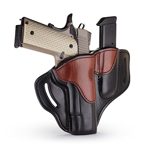 1791 GUNLEATHER 1911 Holster, Right Hand OWB Leather Gun Holster for belts fits all 1911 models with 4